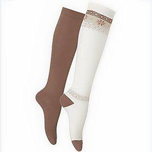 NWT Hue Lot of 4 Fair Isle Knee Socks Ivory Twig